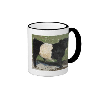 Cute Black Belted Galloway Calf Ringer Coffee Mug