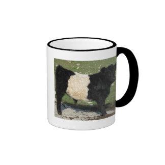 Cute Black Belted Galloway Calf Ringer Coffee Mug