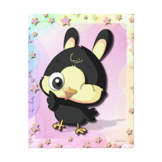 Cute Black Bird Funny Cartoon Character Canvas