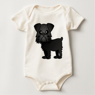 Cute Black Brussels Griffon Cartoon Baby Bodysuit