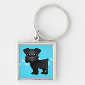 Cute Black Brussels Griffon Cartoon Keychain