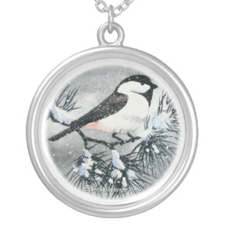 Cute Black Capped Chickadee Bird Round Pendant Necklace