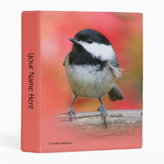 Cute Black-Capped Chickadee on the Apple Tree Mini Binder