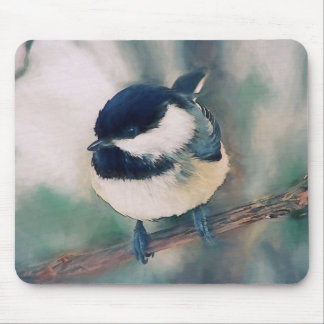 Cute Black Capped Chickadee Painting Mouse Pad