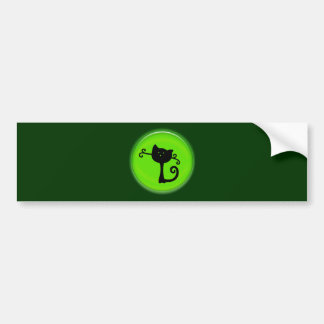 Cute Black Cartoon Cat in Green Bumper Sticker