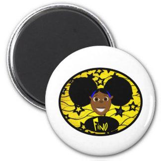 Cute Black Cartoon Girl Fino Magnet