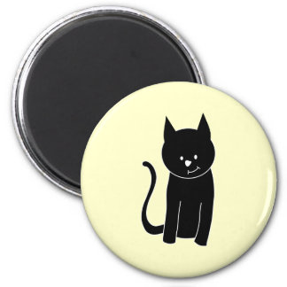 Cute Black Cat 2 Inch Round Magnet