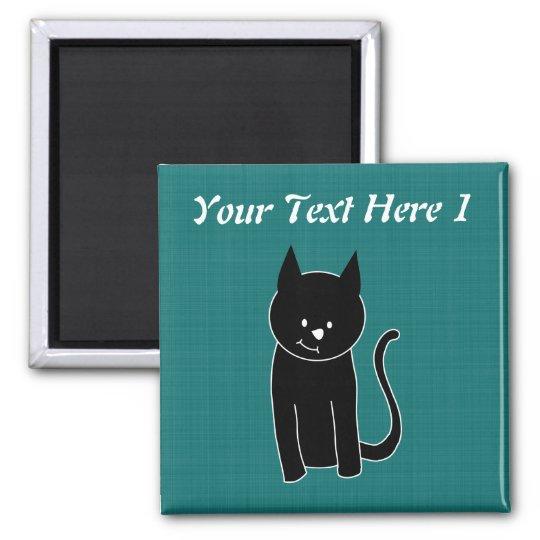 Cute Black Cat 2 Inch Square Magnet