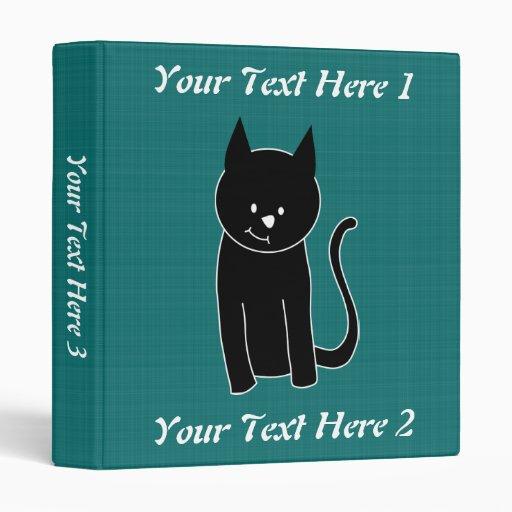 Cute Black Cat 3 Ring Binder