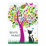 "Cute Black Cat and Flower Tree Birthday Invitation 5"" X 7"" Invitation Card"