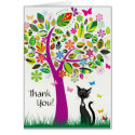 Cute Black Cat and Flower Tree Thank You Card