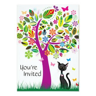 Cute Black Cat and Pretty Flower Tree Birthday 5x7 Paper Invitation Card