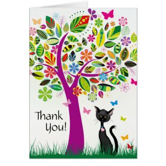 Cute Black Cat and Pretty Flower Tree Thank You Card