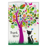 Cute Black Cat and Pretty Flower Tree Thank You Stationery Note Card