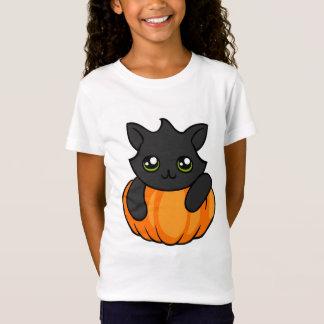 Cute Black Cat and Pumpkin Halloween Girl's Shirt