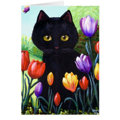 Cute Black Cat Art Tulips Flowers Creationarts Stationery Note Card