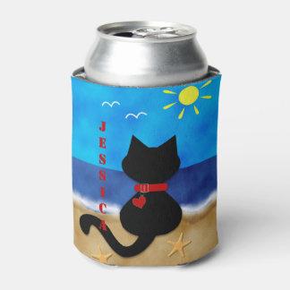 Cute Black Cat Beach Theme Can Cooler