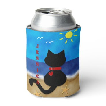 Beach Themed Cute Black Cat Beach Theme Can Cooler