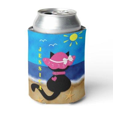 Beach Themed Cute Black Cat Beach Theme Pink Bonnet Can Cooler