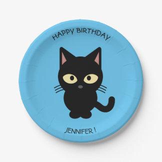 Cute black cat cartoon blue birthday kids name paper plate