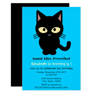 Cute black cat cartoon blue girl birthday party card