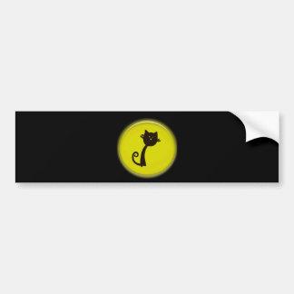 Cute Black Cat Cartoon in Yellow 3D Circle Design Bumper Sticker