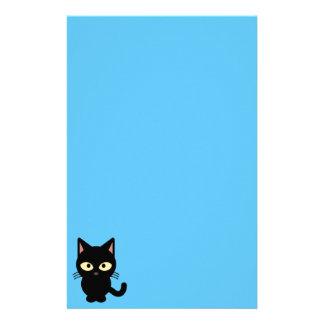 Cute black cat cartoon stationery