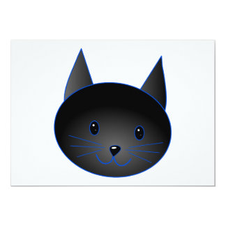 Cute Black Cat. Cat Cartoon illustration. Card