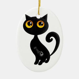 Cute Black Cat Ceramic Ornament