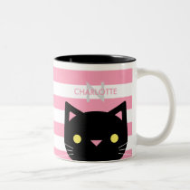 Cute Black Cat Custom Name & Initial Two-Tone Coffee Mug