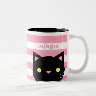 Cute Black Cat Custom Name Initial Two Tone Coffee Mug
