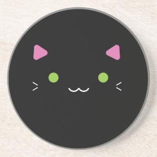 Cute Black Cat Drink Coaster