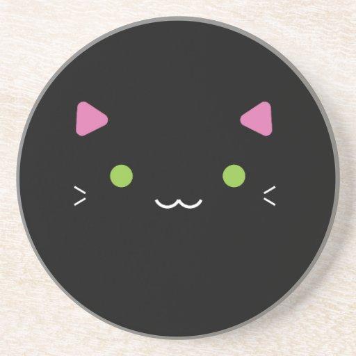 Cute Black Cat Drink Coaster Zazzle