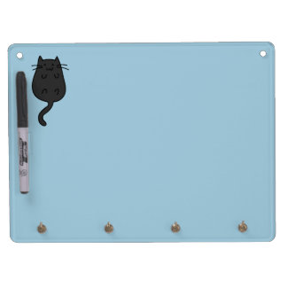Cute Black Cat Dry Erase Board With Keychain Holder