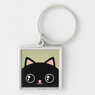 Cute Black Cat Face Kawaii Style Keychain