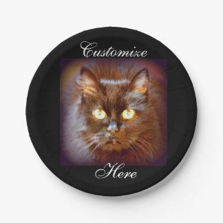 cute black cat face paper plate