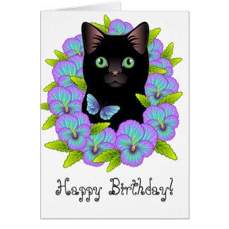 Cute Black Cat Floral Magic Happy Birthday card