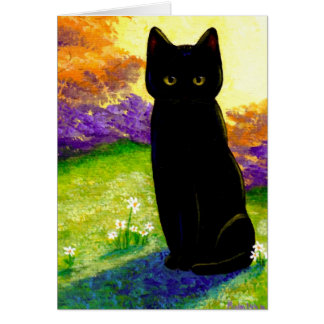 Cute Black Cat Flowers Funny Creationarts Card