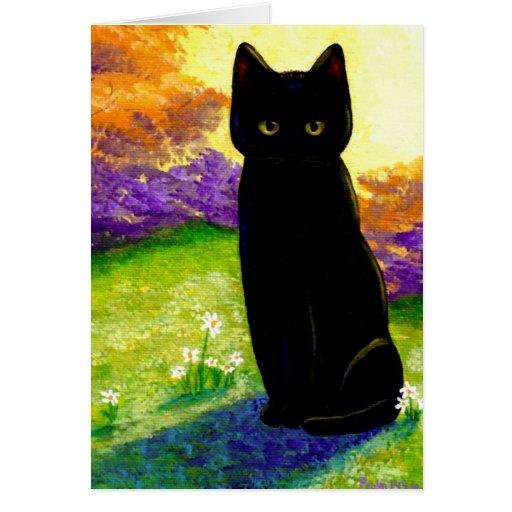 Cute Black Cat Flowers Funny Creationarts Card