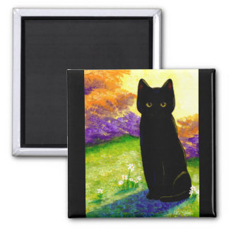 Cute Black Cat Flowers Funny Creationarts 2 Inch Square Magnet