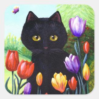 Cute Black Cat Flowers Tulips Creationarts Square Sticker