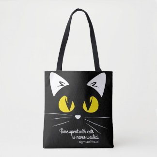 Cute Black Cat Freud Quote Tote Bag for Cat Lovers