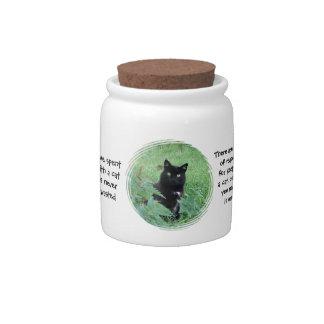 Cute Black Cat Funny Quotations Candy Jar