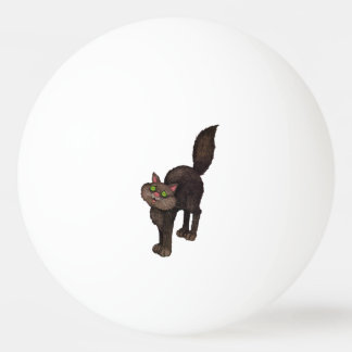 Cute Black Cat Green Eyes Ping-Pong Ball