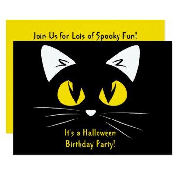 Halloween Themed Cute Black Cat Halloween Birthday Party Yellow Card
