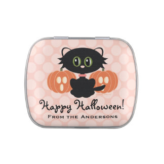 Cute Black Cat Halloween Favor Jelly Belly Candy Tins