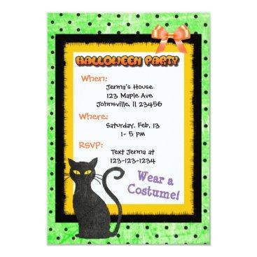 Halloween Themed Cute Black CAT Halloween Invitations