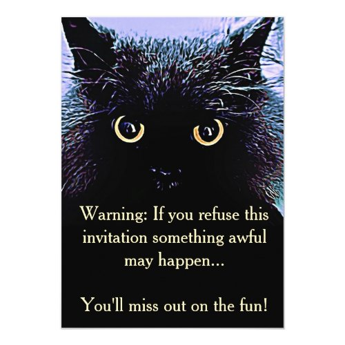 Cute Black Cat Halloween Party Invitation