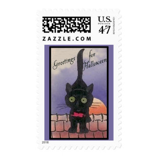 Cute Black Cat Halloween Postage Stamps