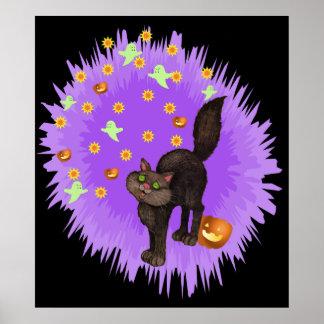 Cute Black Cat Halloween Purple Star Burst Poster